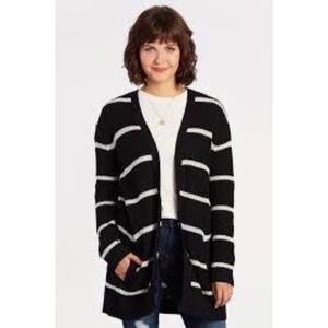 NWT BB Dakota striped open black and white cardy